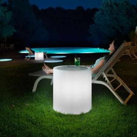 HOME FITTING CYLINDER COFFEE TABLE with light, LYXO