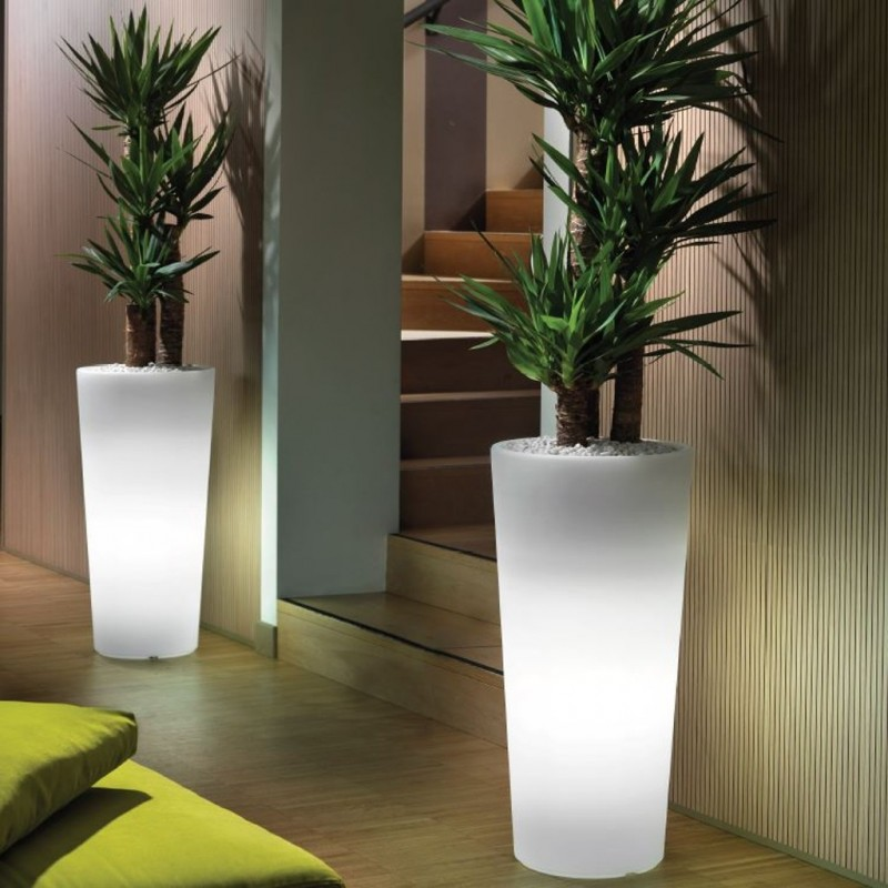 Vase Cachepot Genesis Round High With Light Veca Italiving Outdoor
