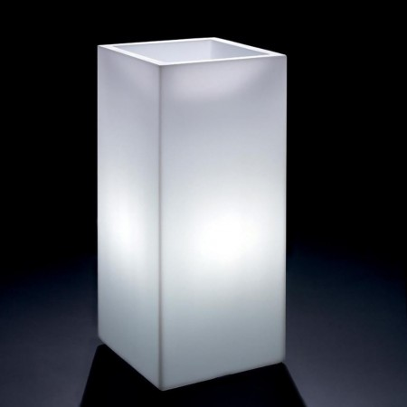 Vaso cachepot Cosmos quadrato alto con luce, VECA