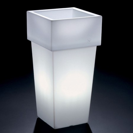 Vase cachepot Gemini square high with light, LYXO