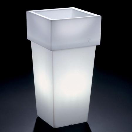 Vaso cachepot Gemini quadrato alto con luce, VECA