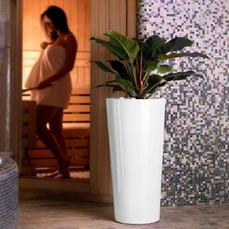 Glossy round GENESIS cachepot vase, LYXO